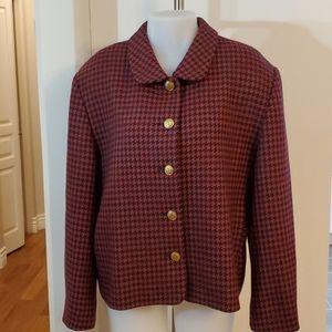 100% Wool-Canada Houndstooth Blazer Jacket 14 XL